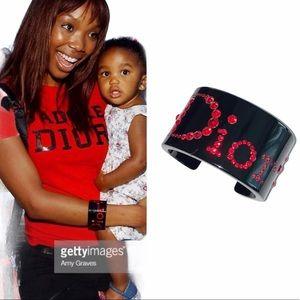 Christian Dior Black Lucite Crystal Logo Bracelet